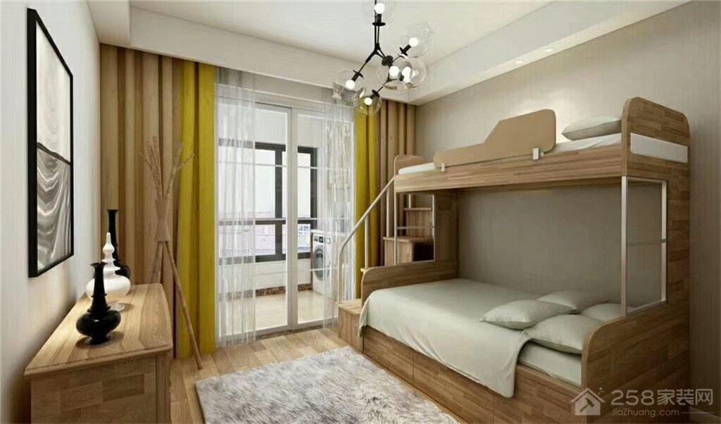 安全实用儿童房高低床装修效果图