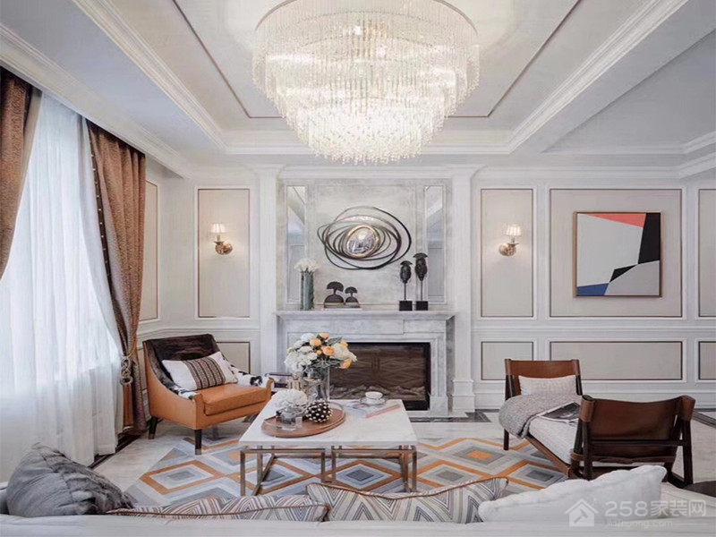 简约大气现代客厅水晶吊灯效果图