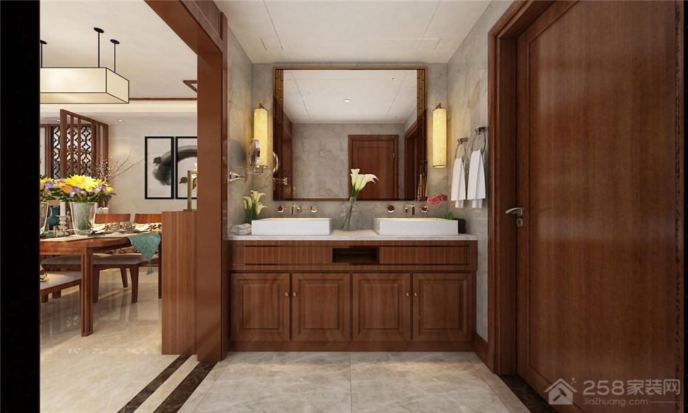 卫生间中式韵味实木浴室柜设计图