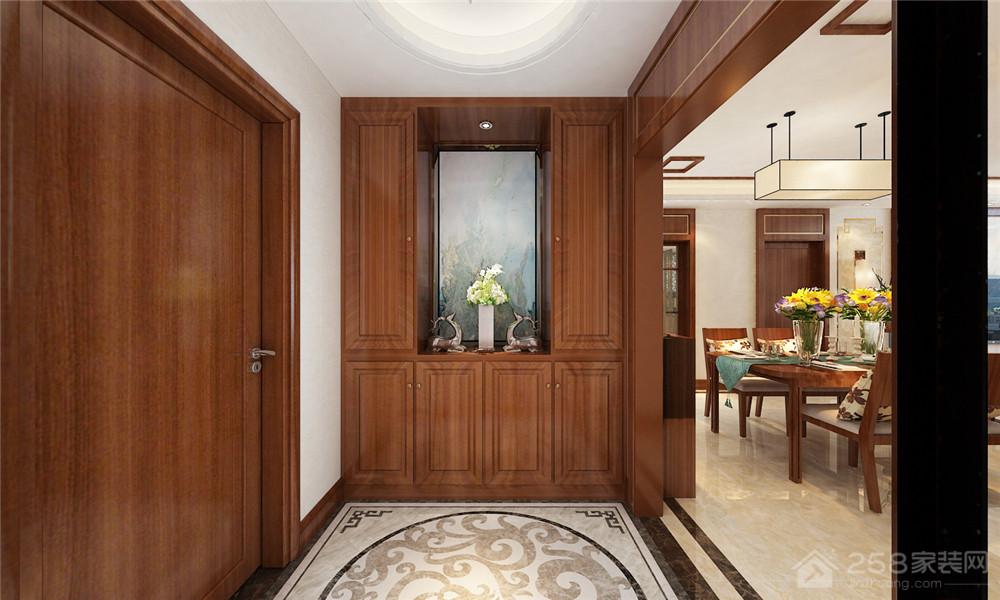 中式装修实木进门玄关鞋柜装修效果图