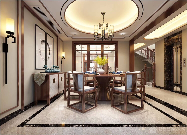 中式别墅餐厅实木圆餐桌图片