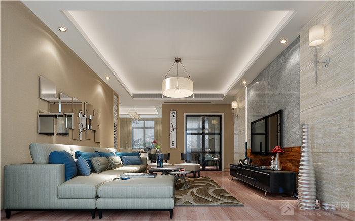 清新自然简约客厅转角沙发效果图