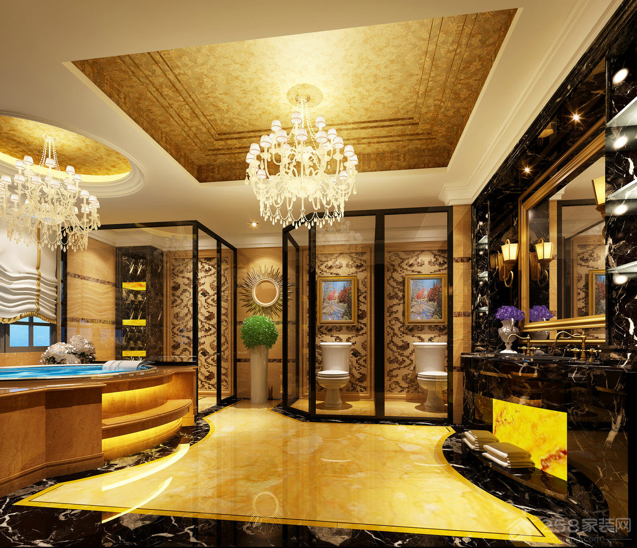 高贵奢华浴室水晶吊灯效果图