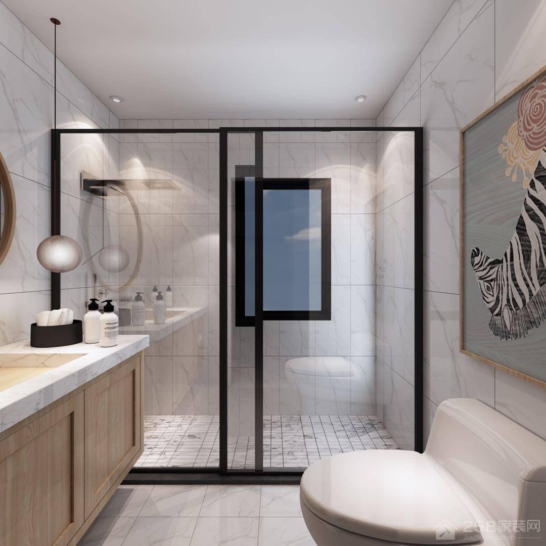 现代简约卫生间玻璃隔断图片