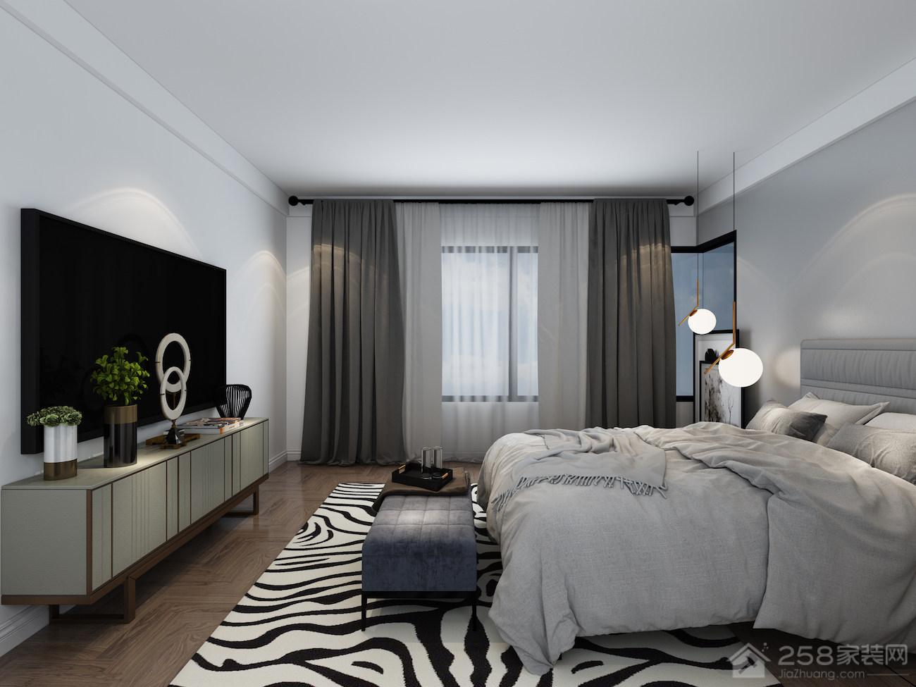 现代风格卧室黑白间纹地毯图片