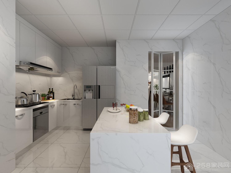 现代风格厨房中岛吧台效果图