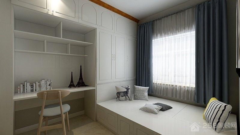 新中式书房白色组合柜图片