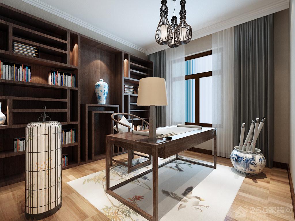 中式风格书房装修整体书柜效果图