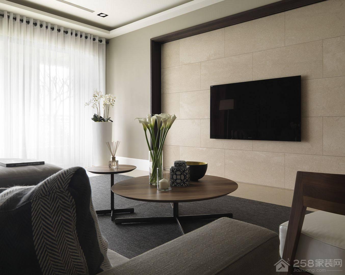 现代简约客厅大理石电视墙图片