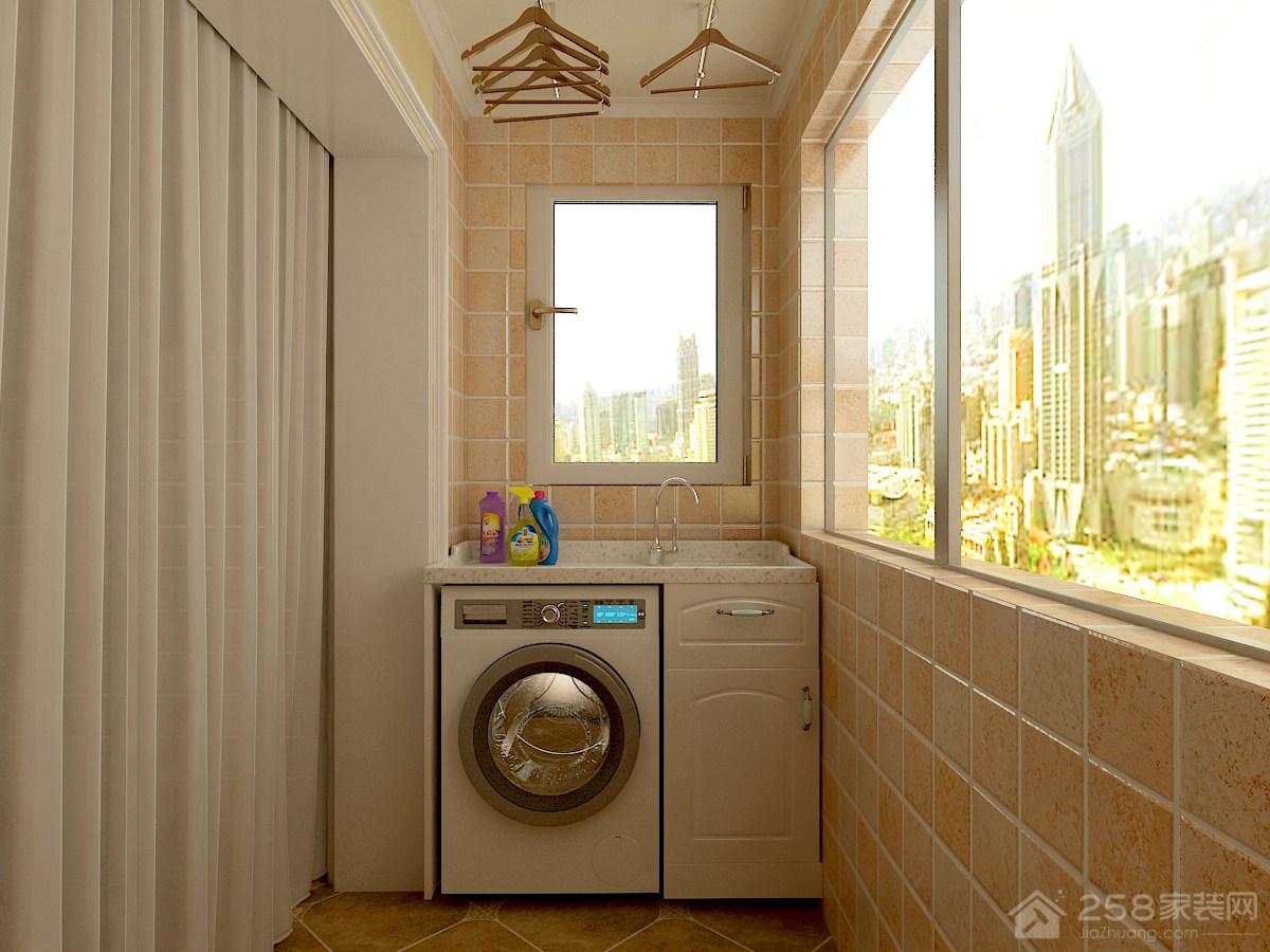 简约美式阳台洗衣机图片