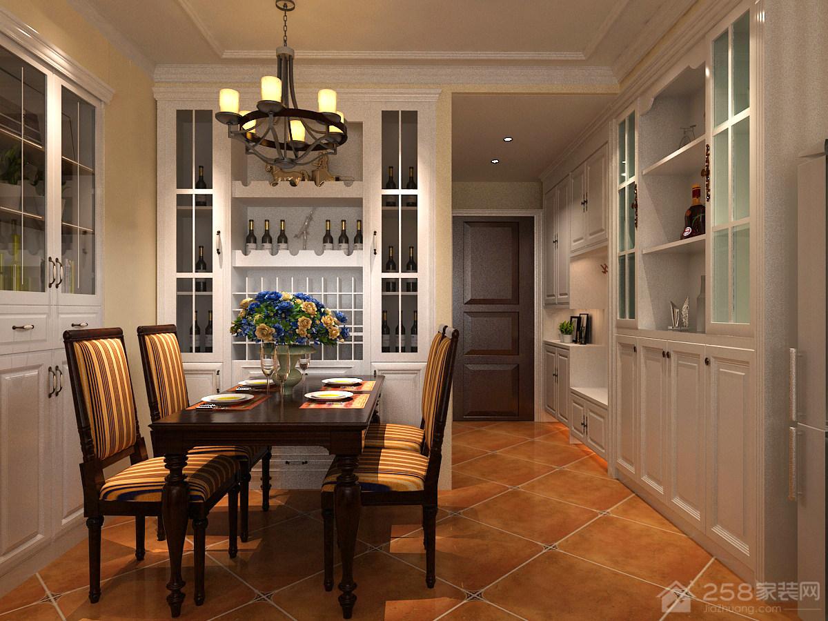 美式家庭餐厅酒柜装饰图片