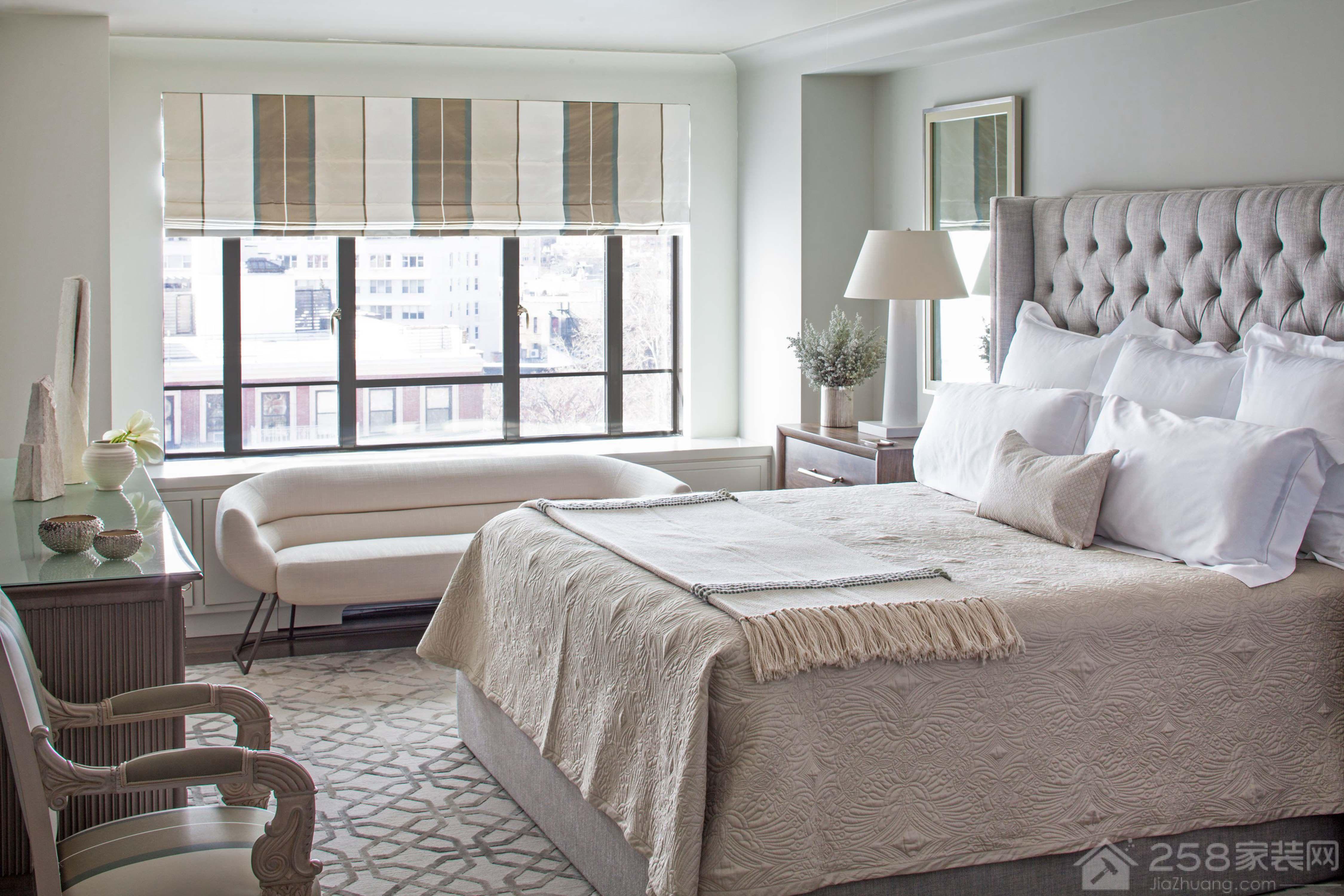 北欧风格卧室素色调搭配效果图