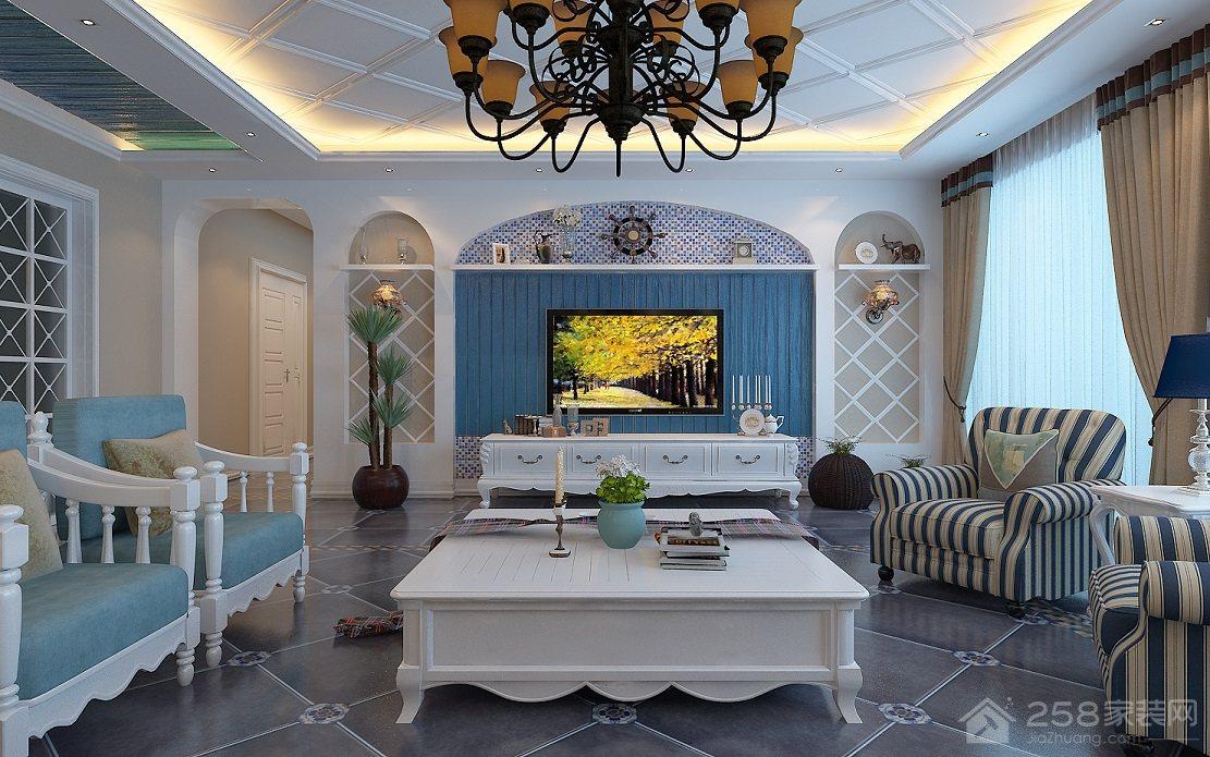 地中海风格客厅蓝色电视墙图片