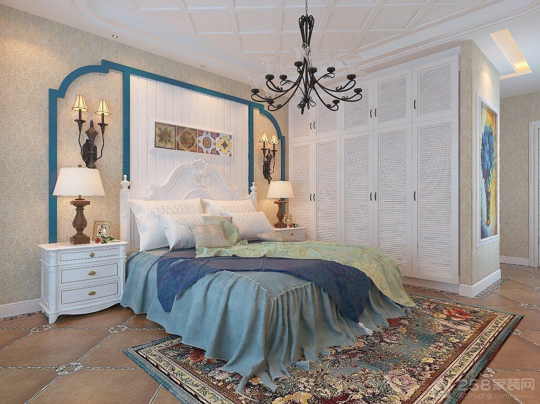 地中海风格卧室百叶门衣柜图片