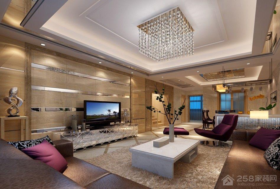 高档奢华客厅方形水晶吊灯效果图欣赏