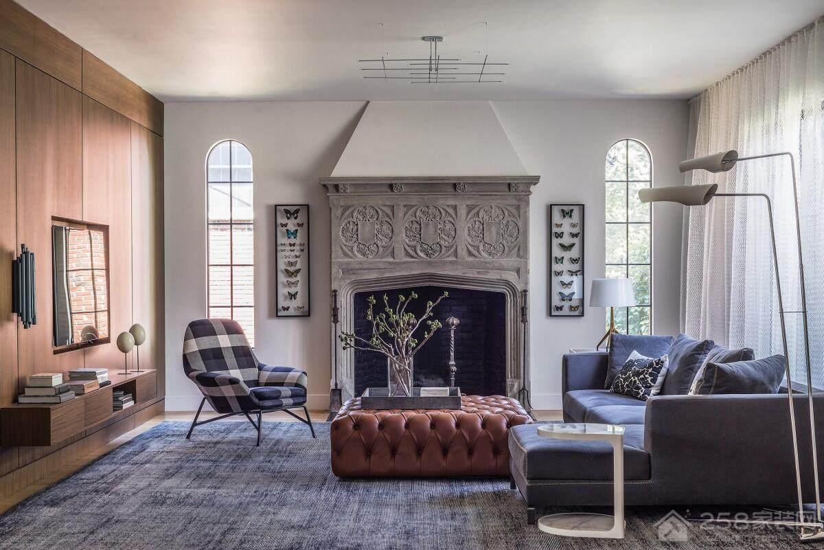 混搭风格客厅壁炉背景墙图片
