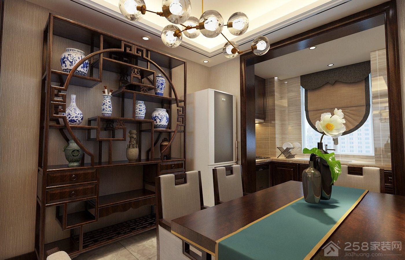餐厅博古架展示图片