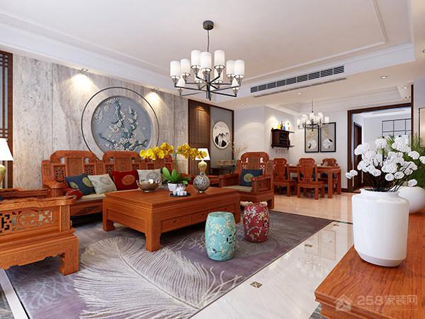 客厅木制仿古方形茶几效果图展示