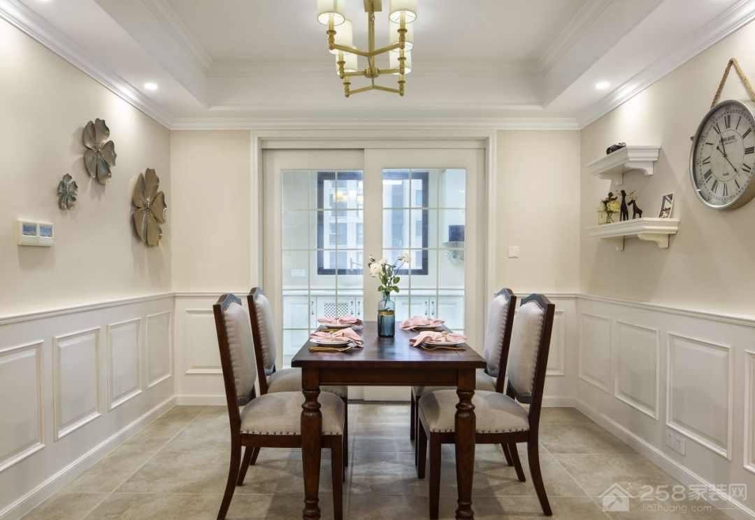 美式古典餐厅四人餐桌装修效果图