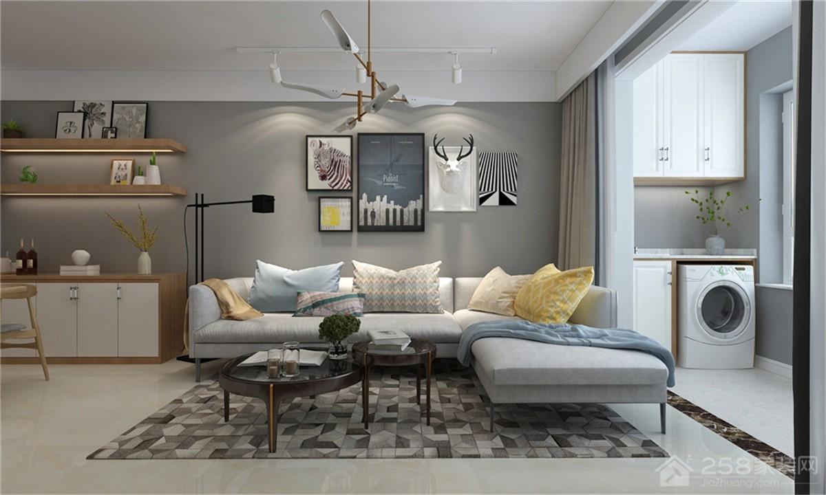 客厅简约布艺转角沙发效果图展示