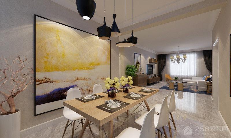 现代简约餐厅原木方形六人餐桌