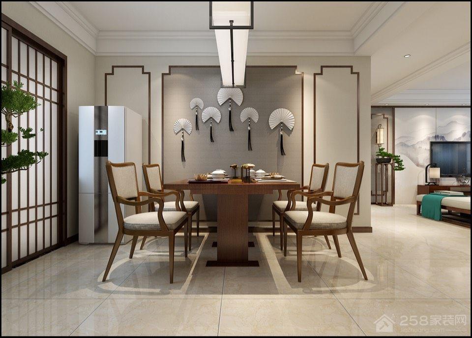 中式餐厅装修长方形四人餐桌