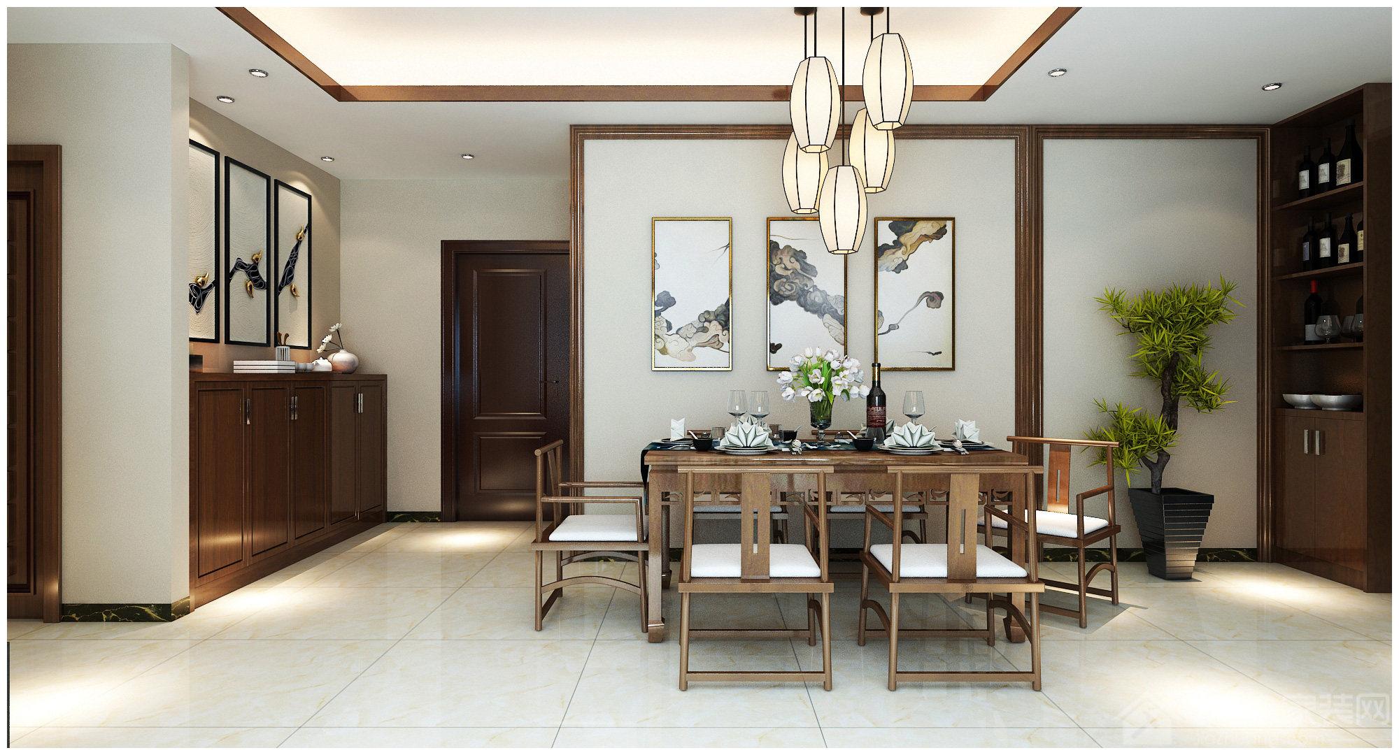 现代新中式风格餐厅效果图