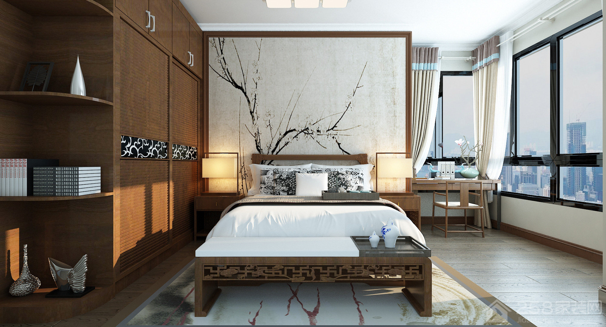 新中式风格卧室床头背景墙图片