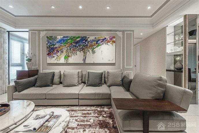 新古典风格客厅转角沙发设计效果图