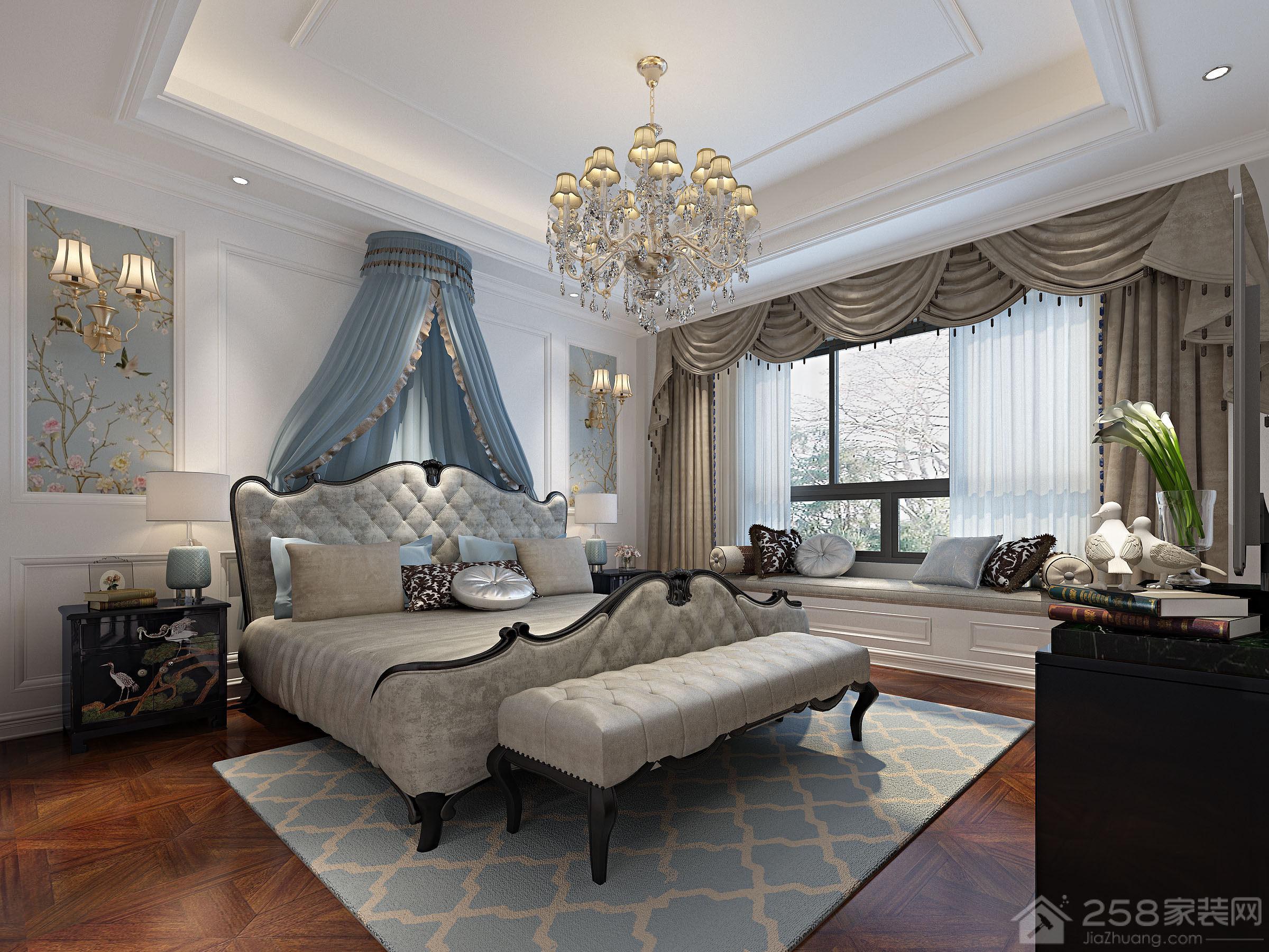卧室优雅欧式双人床效果图展示