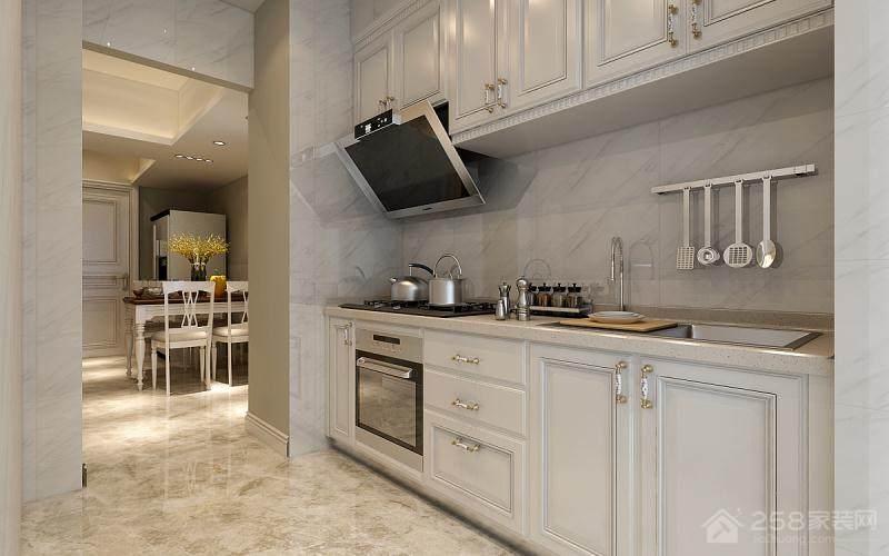 白色简约厨房烤漆橱柜图片展示