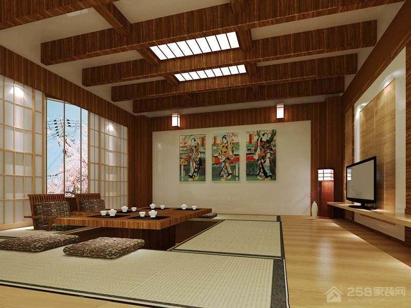 日式装修休闲区升降茶几图片