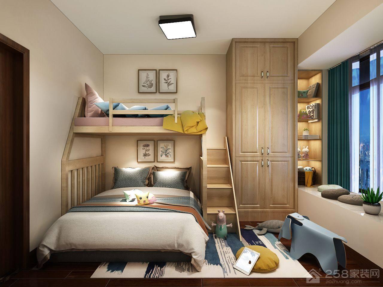 美观实用儿童房高低床效果图