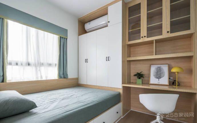 简约风格书房书桌书柜一体化设计