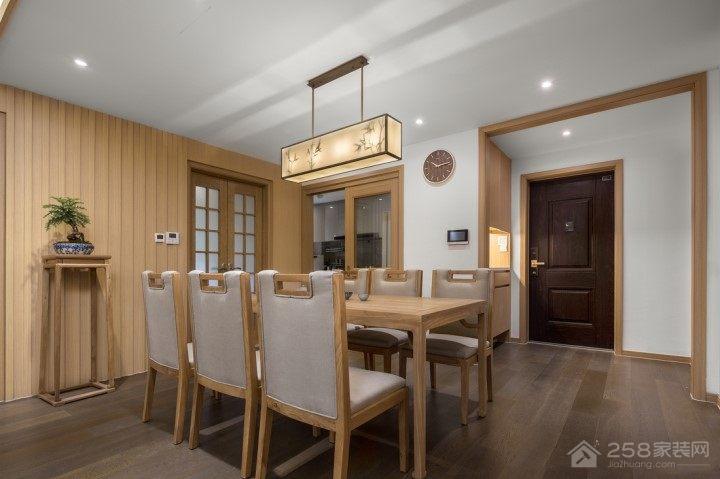 中式餐厅木质六人餐桌效果图