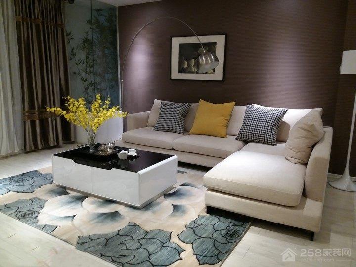 白色简约客厅布艺转角沙发图片