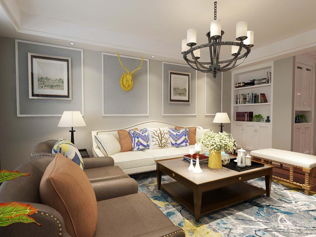 美式简约风格方形客厅茶几图片