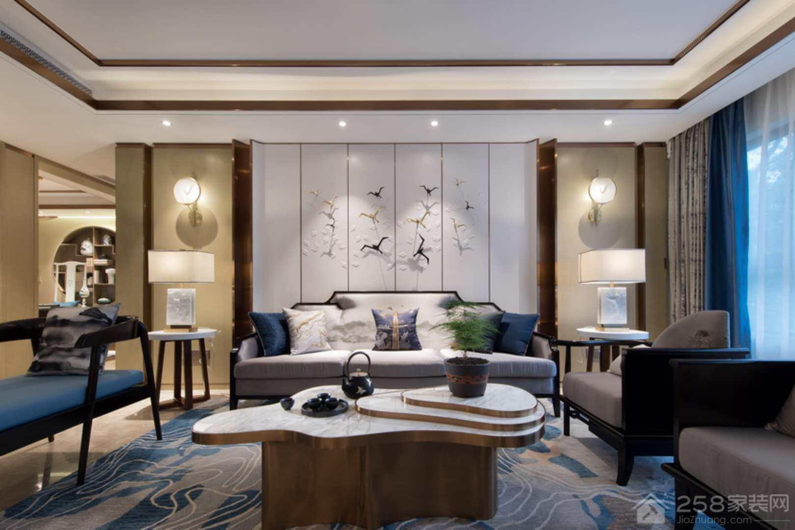 新中式客厅3d背景墙效果图