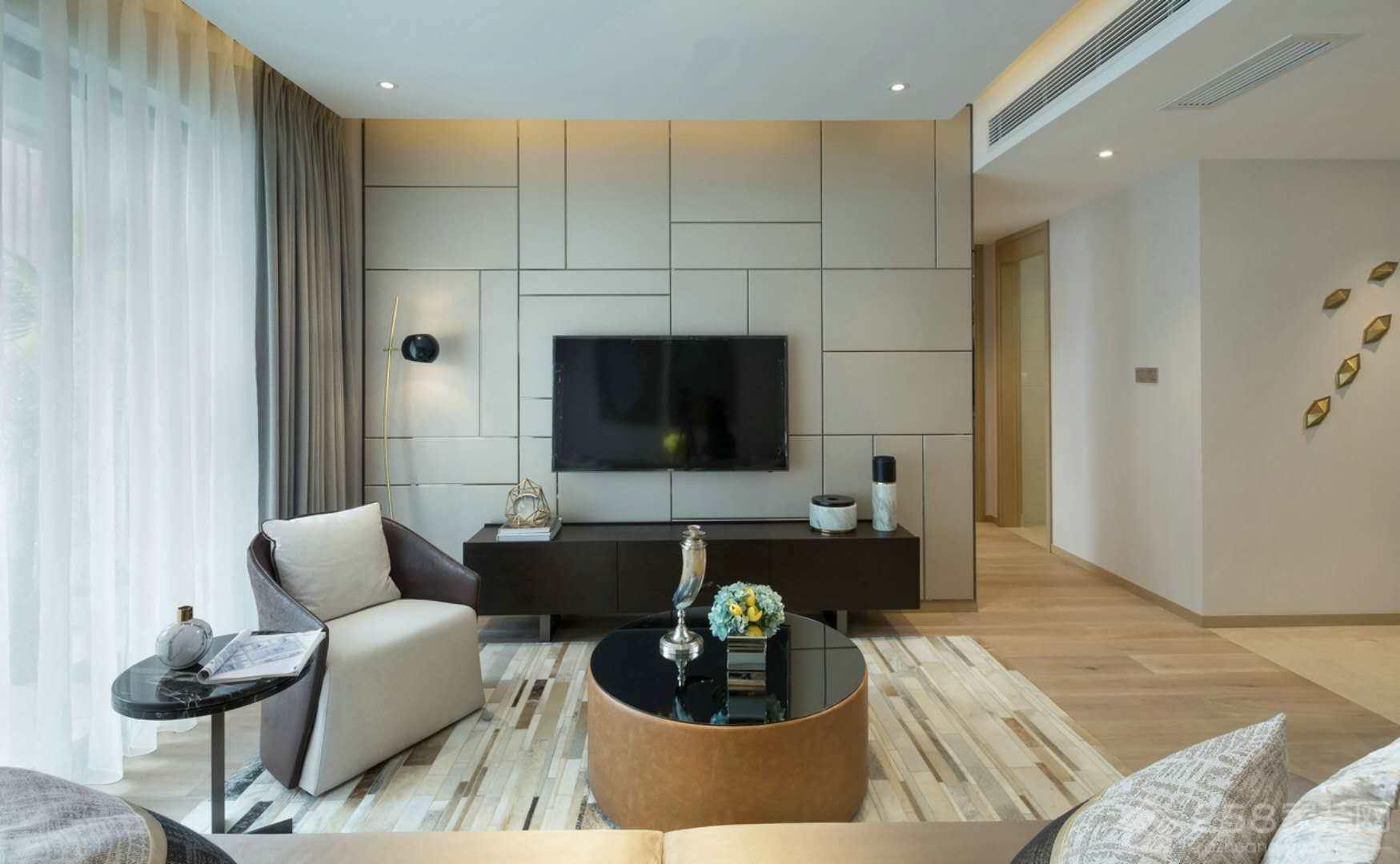客厅装修黑色大理石圆形茶几图片