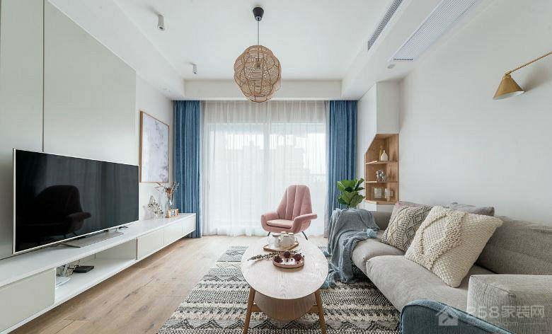 时代俊园简约北欧三室两厅装修效果图