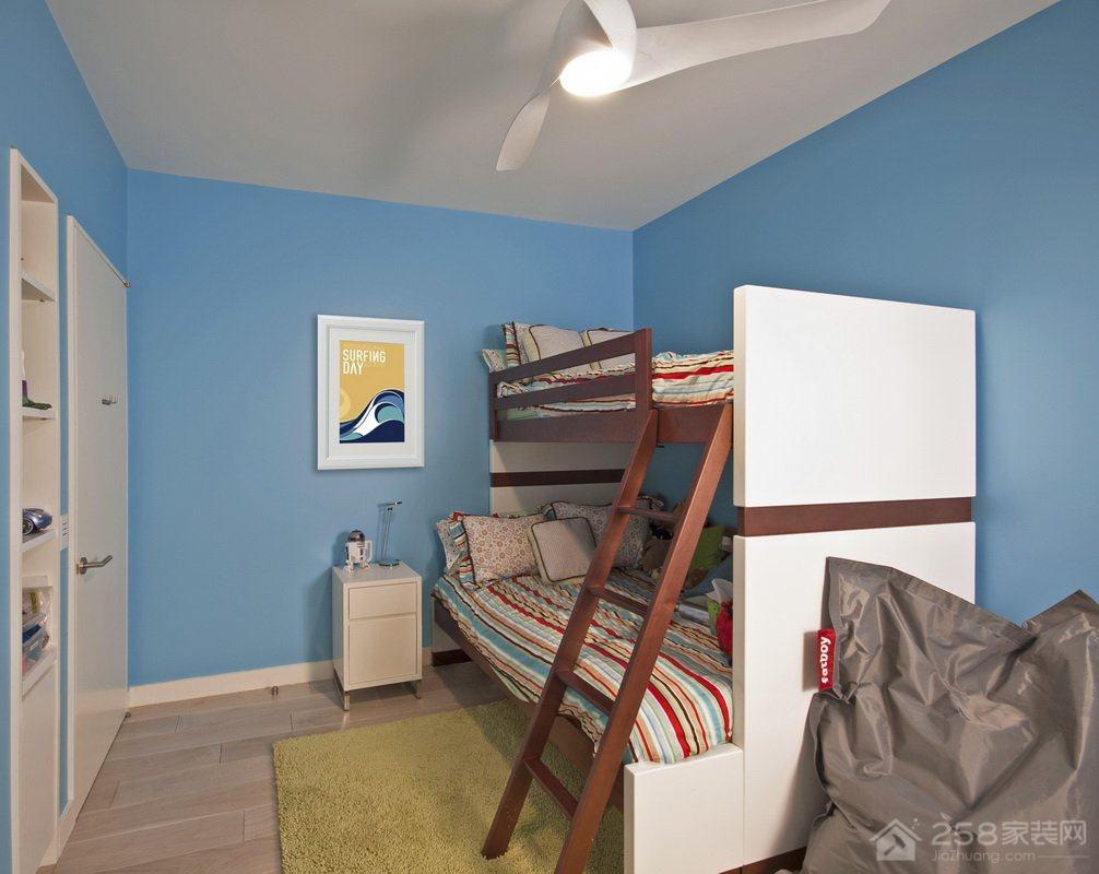 舒适美观木质儿童高低床设计图