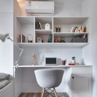 简单北欧风书房书桌书柜组合设计