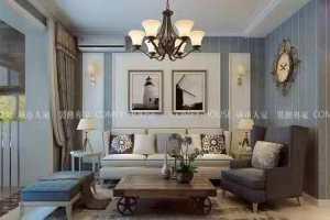 地中海风格水清花都122平三居室