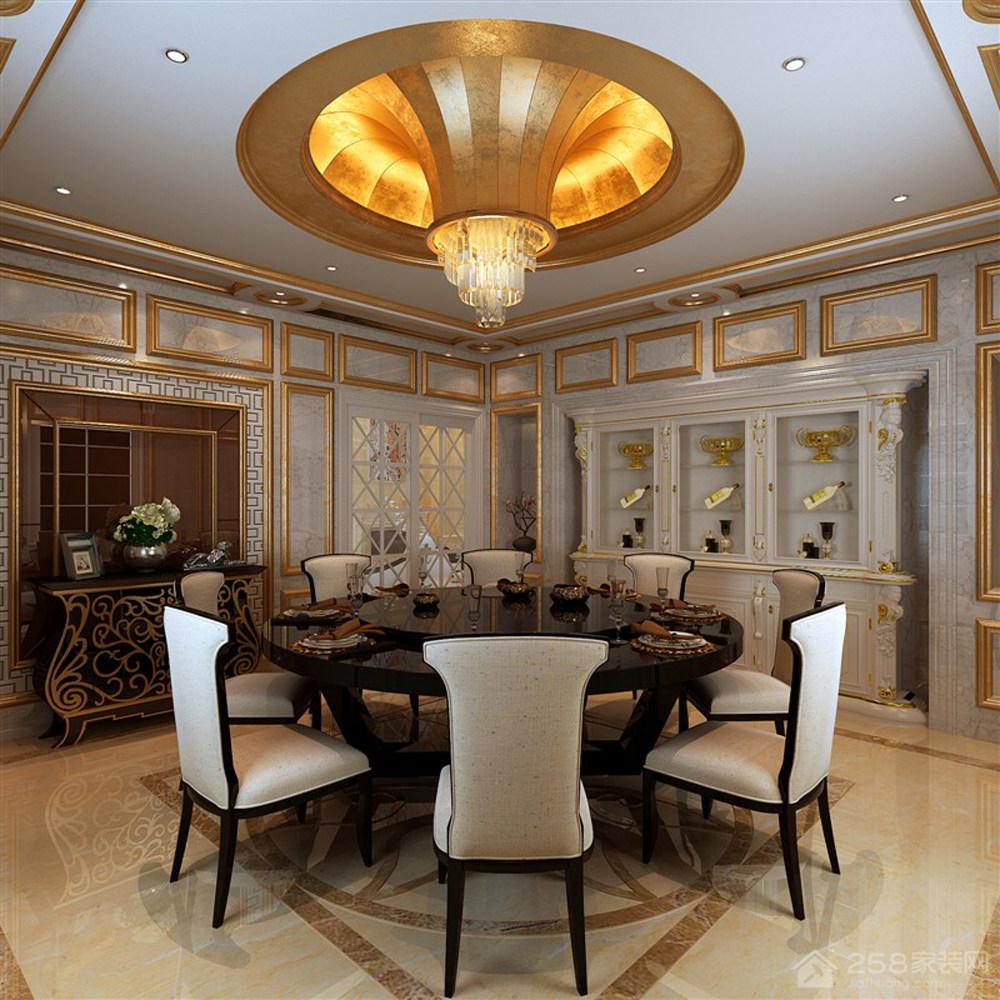 欧式别墅餐厅8人圆餐桌图片