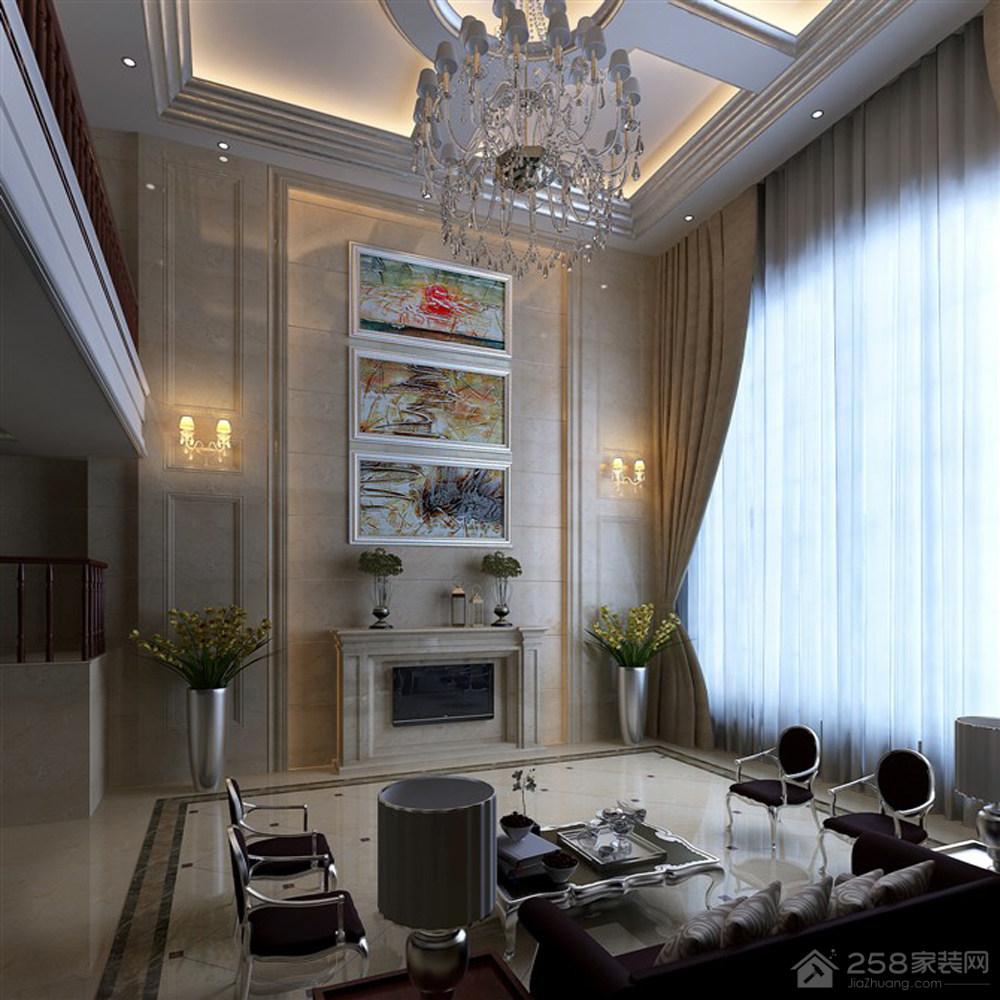 别墅客厅电视背景墙装饰画图片