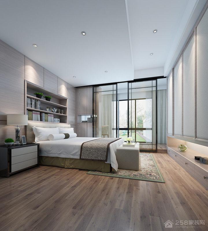 现代风格卧室木地板铺设效果图