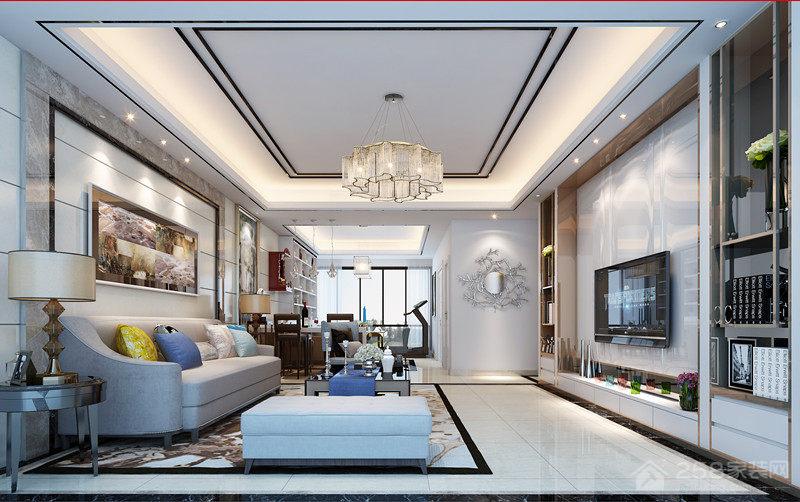 现代客厅平顶吊顶水晶灯图片
