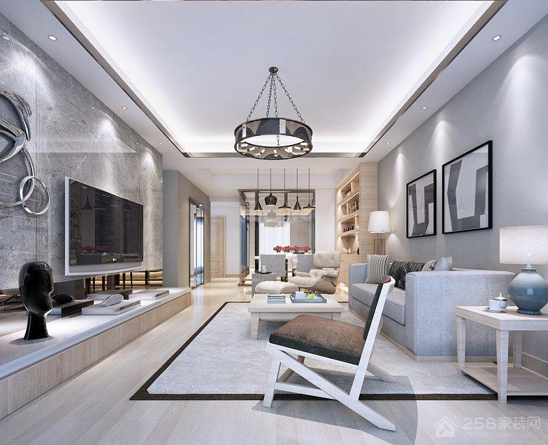 现代客厅圆环铁艺吊灯图片
