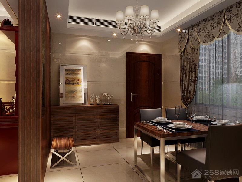 中式风格餐厅实木隔断墙图片