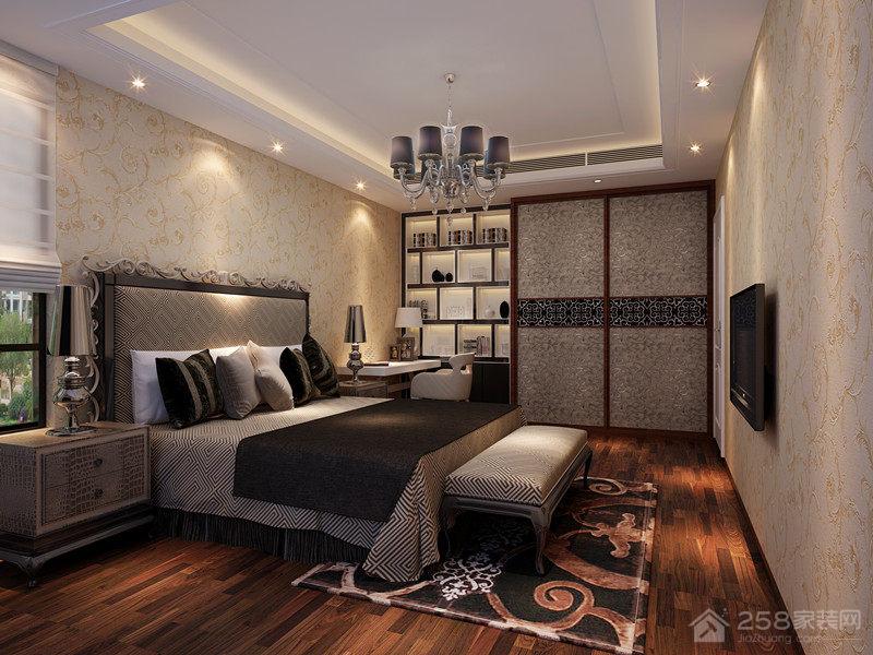 中式风格卧室白色平顶吊顶图片